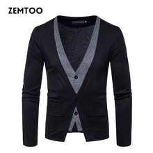 British style Men Sweater Cardigan Masculino Fake Two Piece Sweater Slim Fit Casual Long Sleeve Cardigan Outerwear Male ZE0347