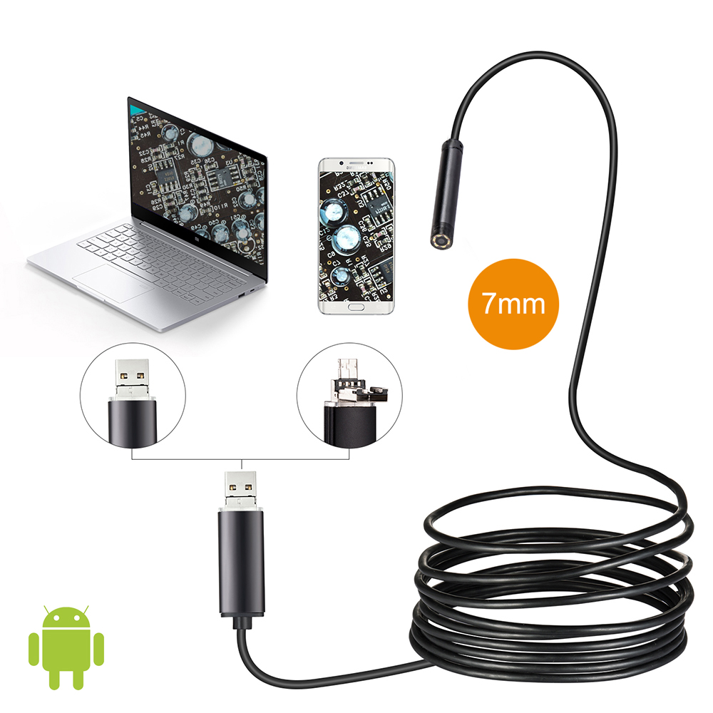 7mm Lente 1M 2M 5M Cable Android OTG Cámara Endoscopio USB Serpiente - Cámara y foto