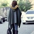 Горячая! Корейски зимнее пальто пончо накидки куртка с капюшоном летучая мышь шерстяной шерсти верхняя одежда из меха женщины SV19