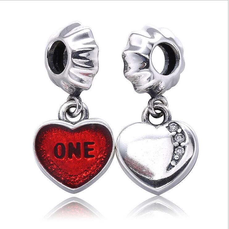 Authentic 925 Sterling Silver Charm dangle bead Enamel Love heart DIY accessorie Fits Pandora Bracelets Jewelry making