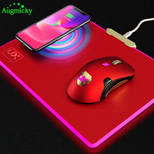 2019 Creative 4 in 1 RGB light belt glow/Wireless Charging Game Mouse Pad Mat/support mouse charging/for iPhone8 X Galaxy S8 S9