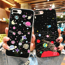 Мультфильм пространство планета чехол для телефона для iphone 7 8 6 6 S плюс XS роскошный мягкий силиконовый чехол Cute Star Мрамор случае для iphone X 8 плюс