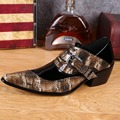 Pointed Toe Men's Crocodile Natural Cowhide Evening Height Increasing High Heels Casual Shoes Chaussure Homme 019 GZSL