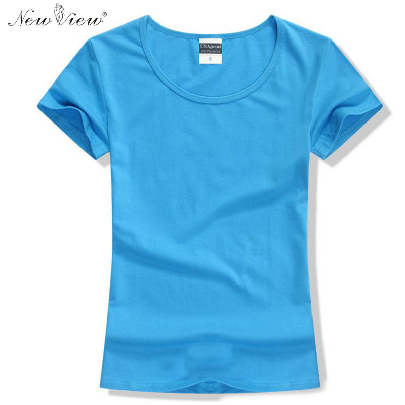 2017 fashion t shirt women summer cotton solid color short for Solid color short sleeve dress shirts