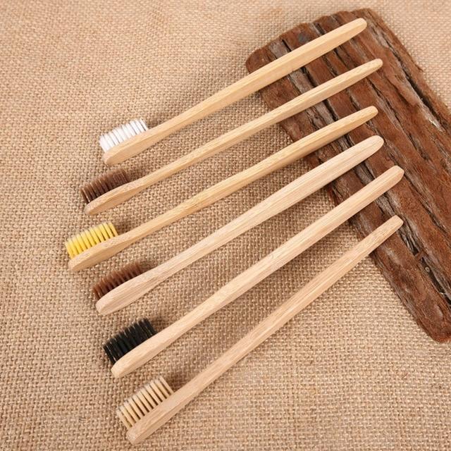 10 piezas/setEnvironmental de carbón de bambú cepillo de dientes para la salud Oral de bajo carbono medio de cerdas suaves mango de madera cepillo de dientes