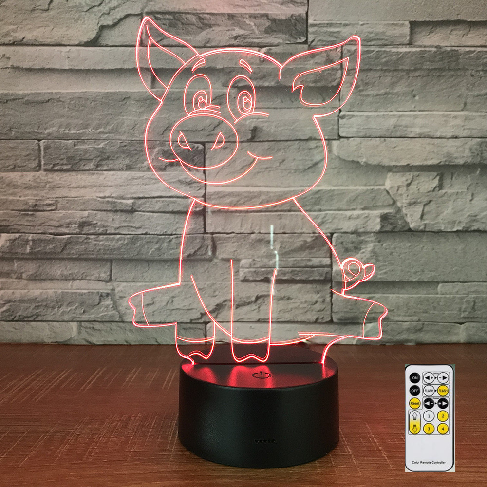 Pig Lamp Remote Control 3D LED Night Lights 7 Colors Light Home Decoration Visualization Optical Illusion Awesome Drop Shipping