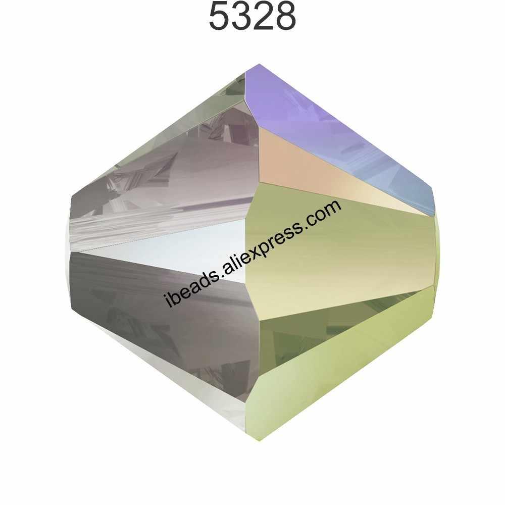 100% Asli Kristal dari Swarovski 5328 Xilion Bicone Manik-manik dari Austria Longgar Manik-manik Berlian Imitasi untuk DIY Perhiasan Membuat 2019