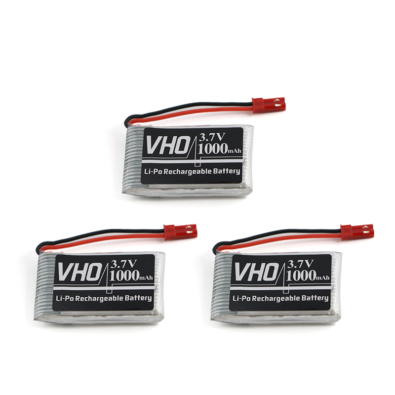 VHO 3pcs 3.7V Lipo Battery 1000mAh JJRC H11C H11WD JST For JJRC H11D HQ898 RC Quadcopter Drone Battery Control Boat Car 903048