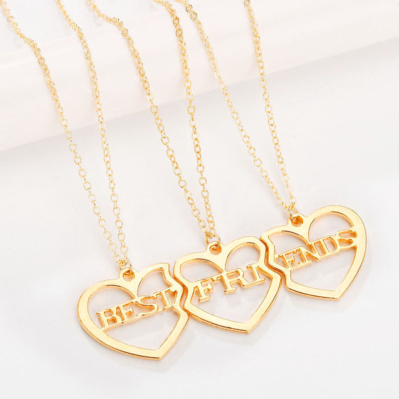 <font><b>3</b></font> pcs/set Charm Best <font><b>Friends</b></font> Hollow Heart Pendant <font><b>Necklaces</b></font> <font><b>for</b></font> Women Girls <font><b>BFF</b></font> Friendship Gold Color <font><b>Necklaces</b></font> Jewelry Gift image