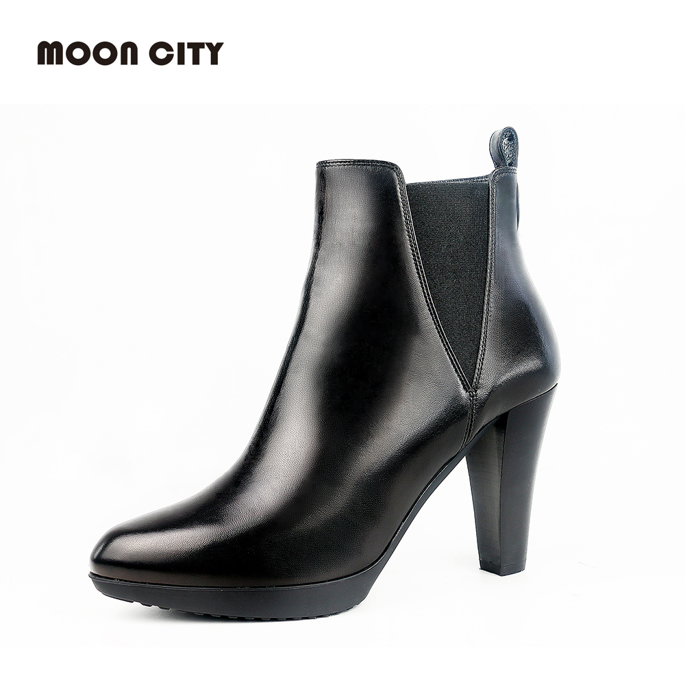 Genuine Leather Boots AutumnWinter Pumps Shoes Women Round Toe High Square Chunky Heels Short Ankle Boots The Zipper Thick Heels zorssar 2017 hot new women boots fashion retro genuine leather high heels ankle boots round toe zipper thick heel short boots