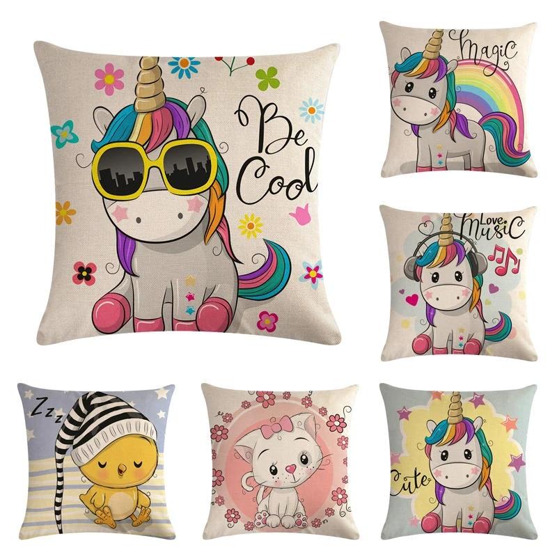 45cm 45cm cartoon little unicorn design linen cotton throw pillow covers couch cushion cover home decorative pillows