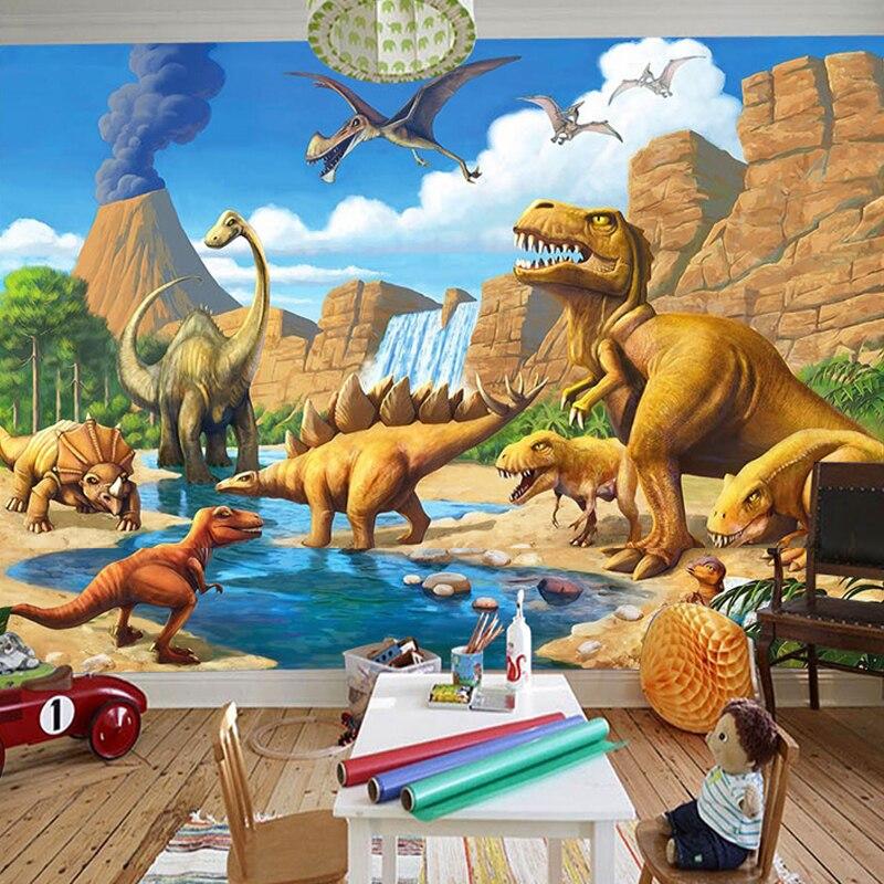 Personnalisé 3D Cartoon Mural papier peint chambre d'enfants maternelle dinosaure peintures murales bois Fiber papier peint Papel De Parede Infantil 3D