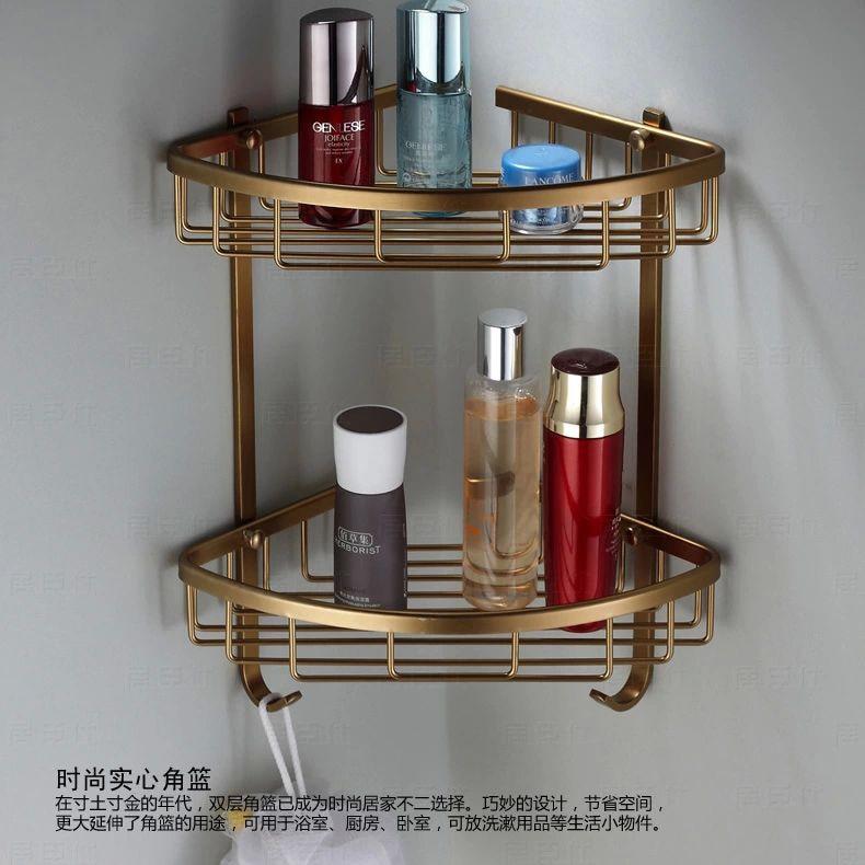 Wall Mounted Antique Bronze Alumimun Bathroom Soap Basket Bath Shower Shelf Basket Holder Building Material Mj 7011