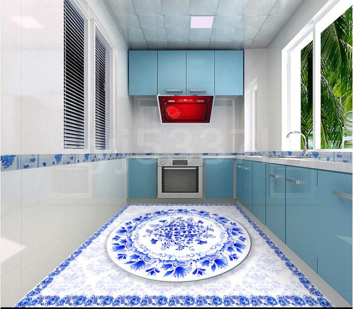 Exceptional Salle De Bain 3 D #14: 3 D Pvc Plancher Personnalisé 3d Salle De Bains Plancher Papier Peint  Chinois Bleu Et Blanc