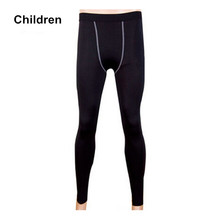 #1020 Children Kids Sports Fitness Gym Training Running Base Layer Thermal Tights Sweatpants Skins Full Pants Height 120-150cm
