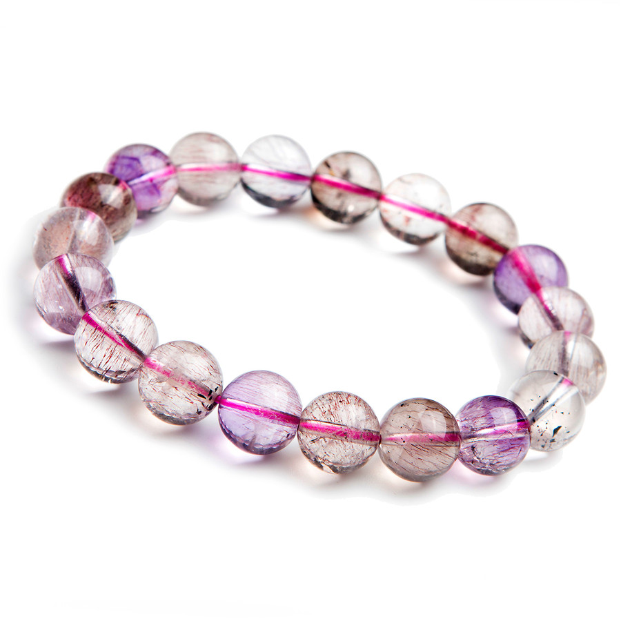 10mm Natural Multi Colors Super 7 Seven Melody Stone Stretch Charm Bracelets Women Femme Clear Round Crystal Bead Bracelet 8 5mm natural zoisite gem stone crystal round bead bracelets for women femme charm stretch bracelet