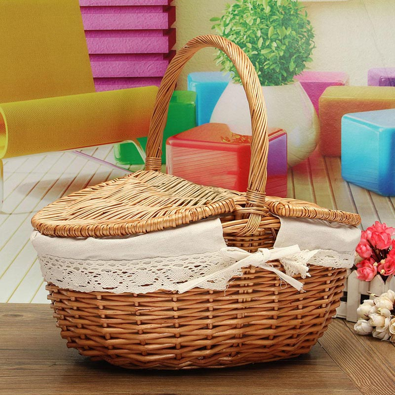 Handmade Willow Wicker Knit Basket Easy Carrying Shopping Picnic Storage Hamper With Lid Handle DIY Home