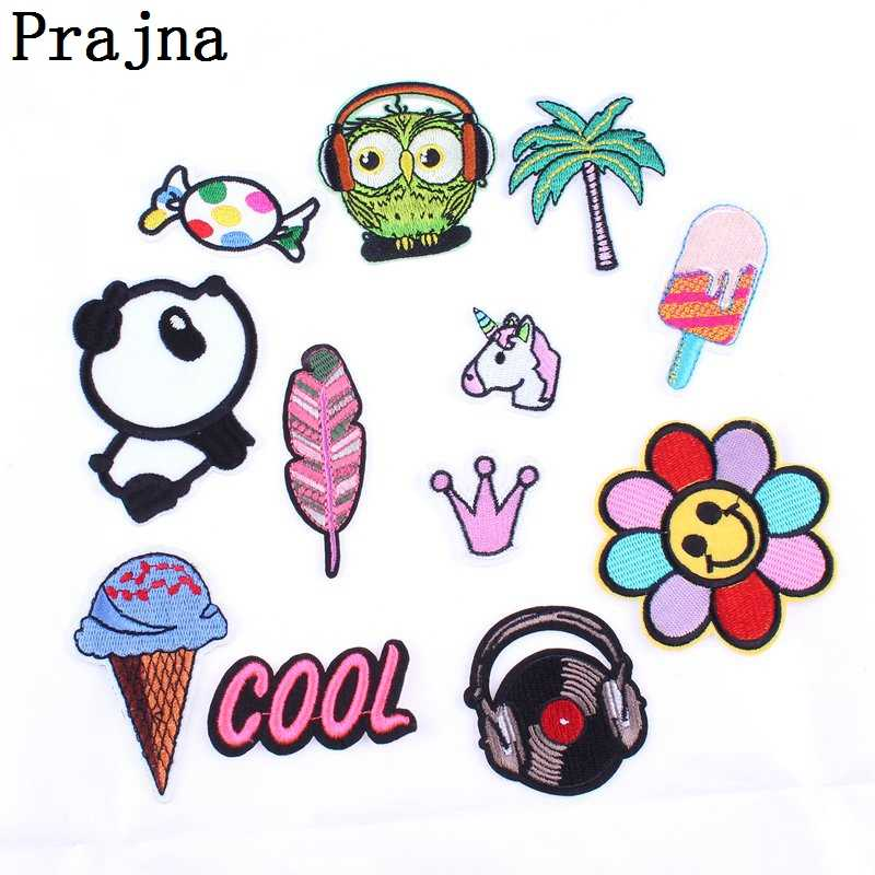 Prajna Anime Panda Letter Music Patch Cheap Embroidered Sew Iron On Cartoon Patches For Clothes Fabric Patch Badge DIY Applique