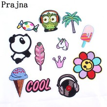 Prajna Anime Panda Letter Music Patch Cheap Embroidered Sew Iron On Cartoon Patches For Clothes Fabric Patch Badge DIY Applique(China)