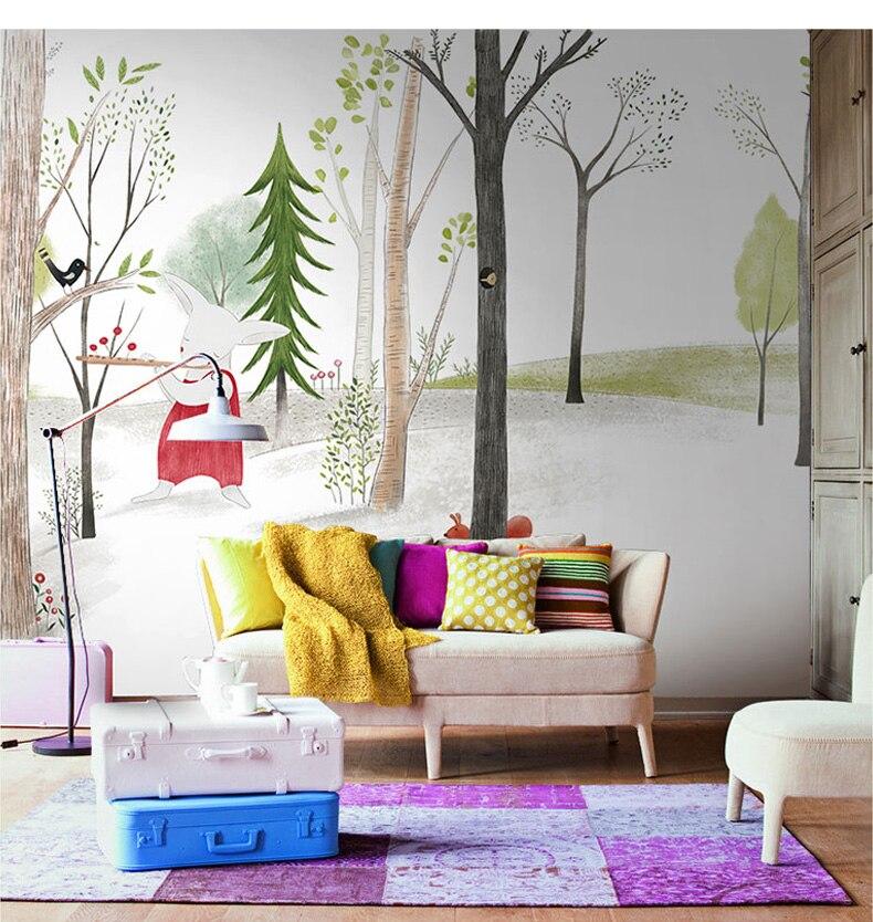 Cartoon Animal Wallpaper Mural Wall Photo For Baby Child Room Sofa Background Rabbit Paper Murals Decor