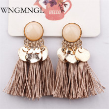 WNGMNGL 2018 Hot Sale Handmade Tassels Earrings Bohemia Ethnic Long Drop Earrings For Women Charm Statement Fashion Ear Jewelry недорого