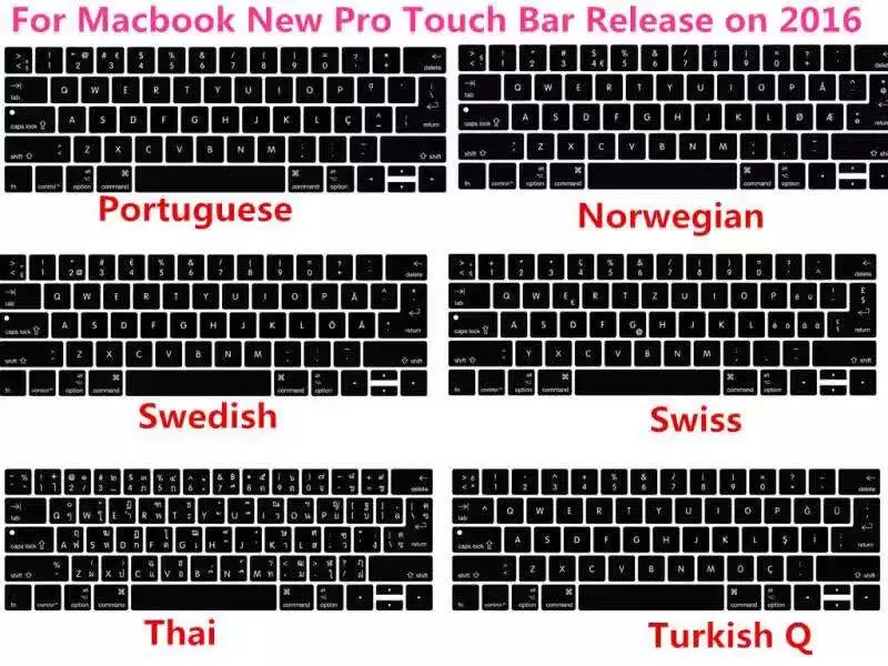 Keyboard Cover Skin Silicone 3pcs Arabic Italian Turkish French Hebrew for Macbook 2017/2018 Pro 13 A1706 15A1707 Touchbar image
