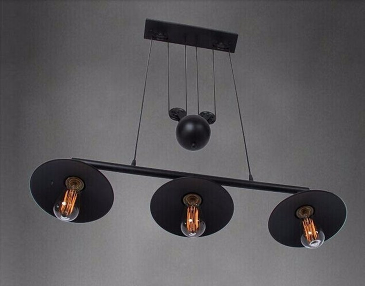 Vintage Iron Loft Industrial American Style Pulley Pendant Light Adjustable Wire Lamp Retractable Bar light Edision Bulb