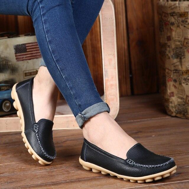 8f3d366ba8c6 sale top Spring casual large size leather flat shoe mom shoes nurse shoes  white non-slip work comfortable pregnant women shoes