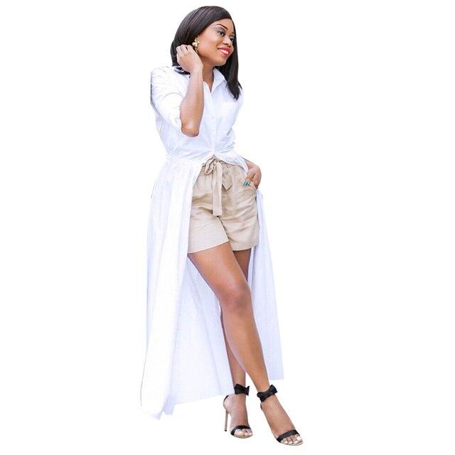 f7194644a53 Autumn Long Sleeve White Shirt Dress Women Turn Down Collar Button Down  Oversized Blouse Dress High Waist Maxi Shirt Dress 2018