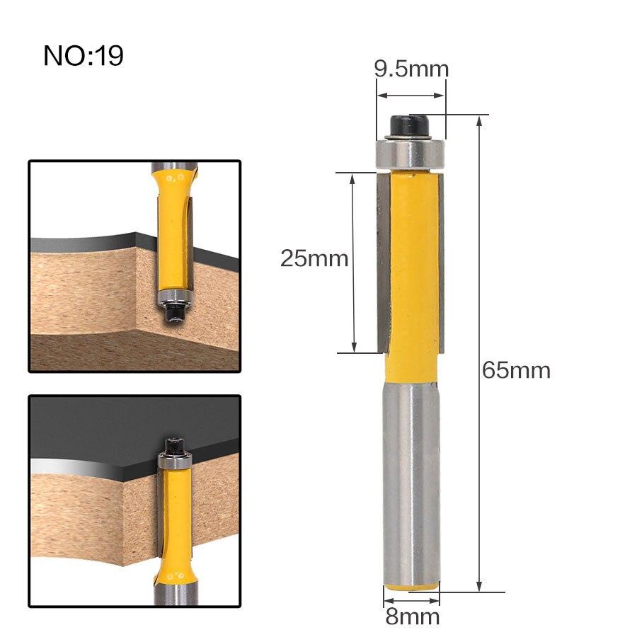 1 шт. 8 мм хвостовик триммера Ceaning Flush Trim древесины фрезы прямой конец Milll вольфрамовые фрезы для дерева Деревообрабатывающие инструменты - Длина режущей кромки: NO 19
