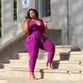2017 Mulheres Bodysuit Rompers Macacão Womens Cor Roxa Sem Mangas Tamanho Grande L-5XL Comprimento Bodycon Macacões Sexy Com Decote Em V Completo