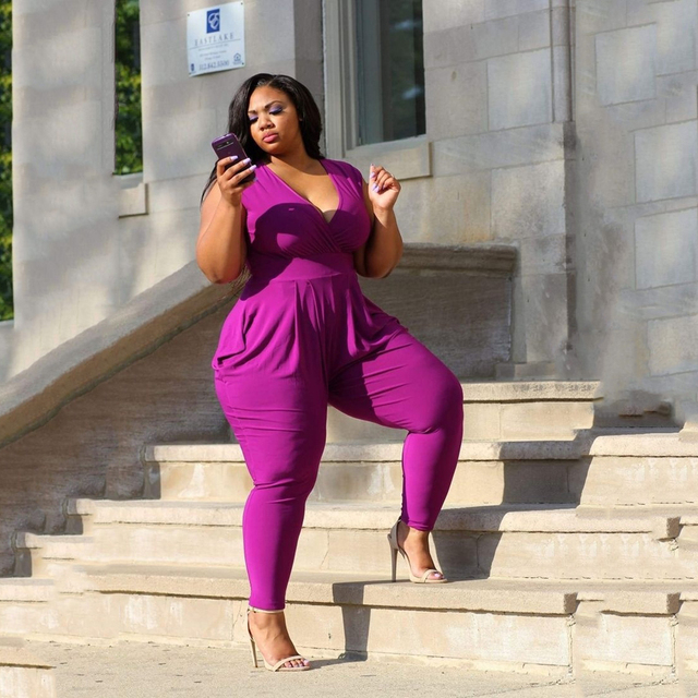 29ae3dd62b6 2017 Women Bodysuit Rompers Womens Jumpsuit Color Purple Sleeveless Large  Size L 5XL Sexy V neck Full Length Bodycon Jumpsuits-in Jumpsuits from  Women s ...