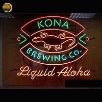 Kona Żarówki Arcade Aloha Neon Neon Ciecz Warzenia Piwa Lampa Bar Pub Ręcznie Sklep Wyświetlacz Zdrowia Okno Światło 24x20 VD