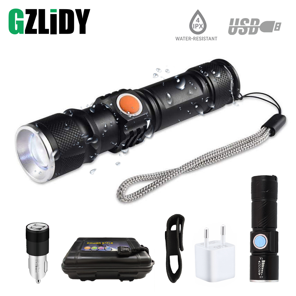 USB charging built-in 18650 lithium battery Q5 T6-2000LM LED glare flashlight portable light zoom for outdoor lighting camping
