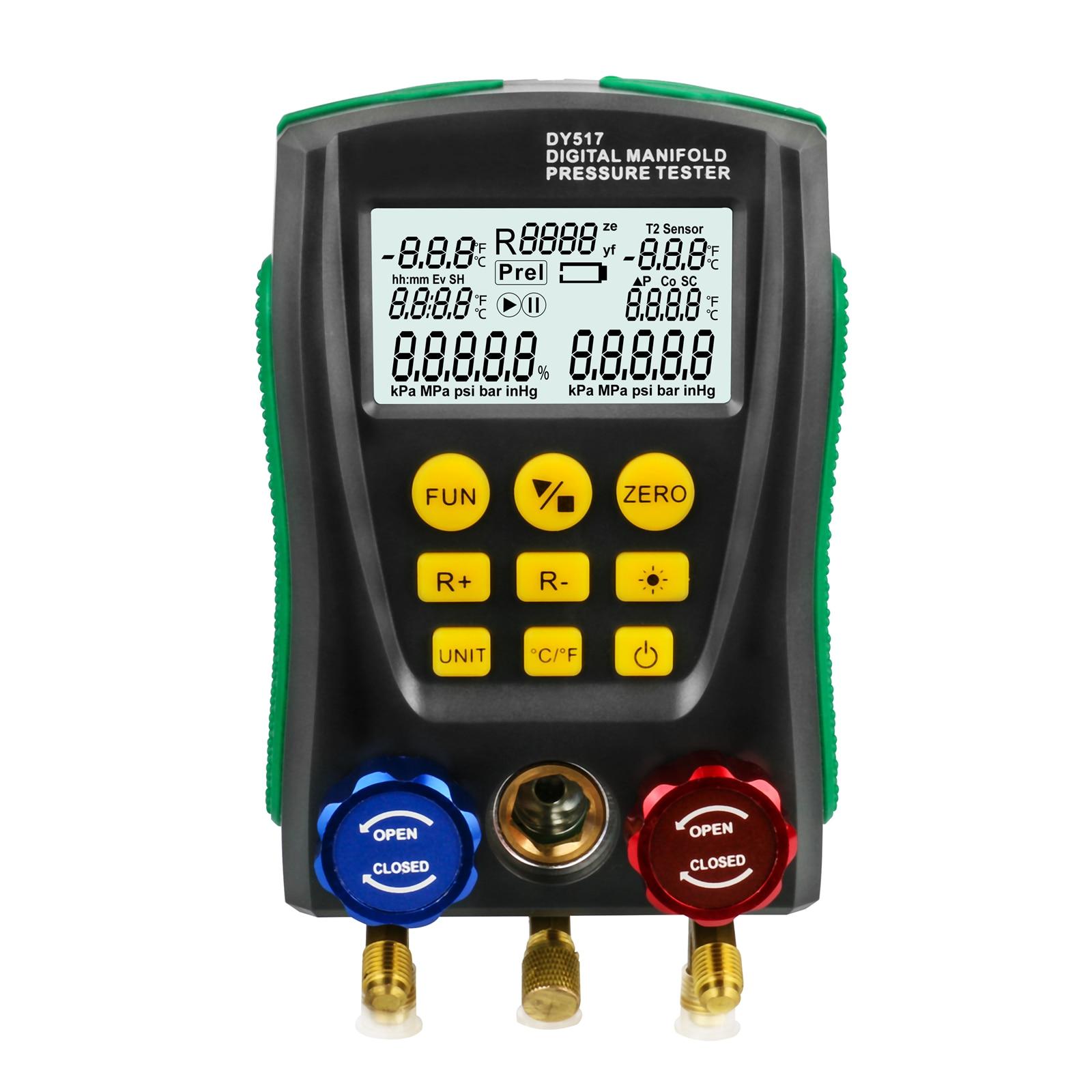 Refrigeration Tools Digital Manifold Gauge Meter HVAC Vacuum Pressure Temperature Tester Leakage Test