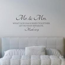 Mr & Mrs Love Quotes Bible Verse Wall  Sticker Vinyl Self-adhesive can be removed Decal Scripture Art Decors cf27