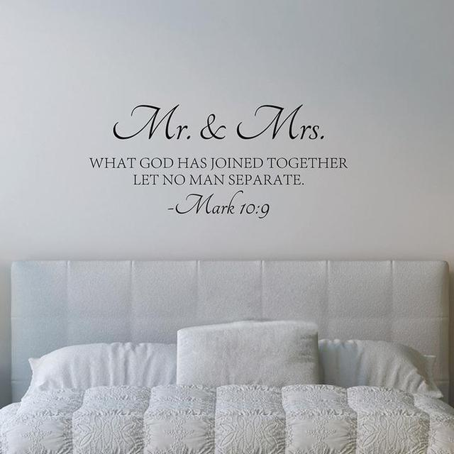 Mr Mrs Love Quotes Bible Verse Wall Sticker Vinyl Self Adhesive