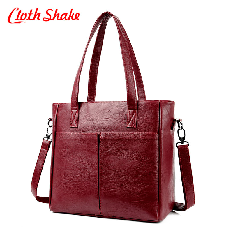 Cloth Shake High Fashion Ladies Hand Bag Women's PU Leather Handbag Large Casual Tote Shoulder Bag Vintage Style Crossbody Bag 2018 new style genuine leather woman handbag vintage metal ring cloe shoulder bag ladies casual tote fashion chain crossbody bag