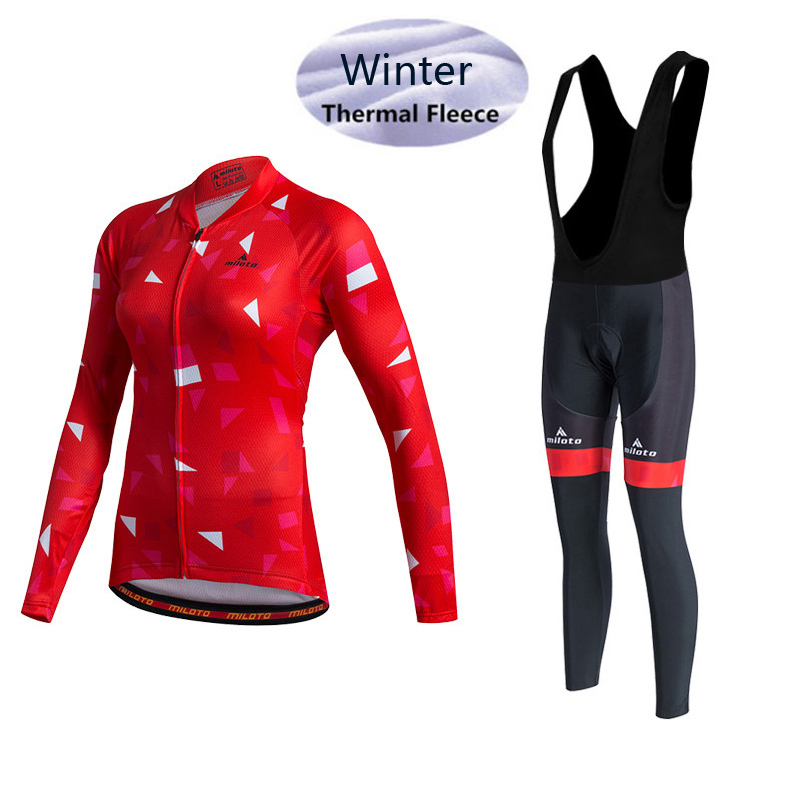 Winter Thermal Cycling Clothing Women Long Sleeve Fleece Jersey MTB Bike Bicycle Suit (bib) Cycling Pants Red Cycling Jersey Set stylish pink cartoon lion and handgun pattern 9 5cm width tie for men