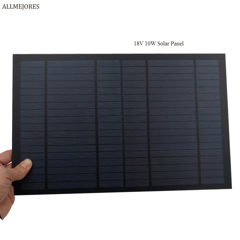 ALLMEJORES Solar Panel 18V 10W 0.55A Monocrystalline Polycrystalline Mini PET PV module charge for 12V battery CE ROSH image