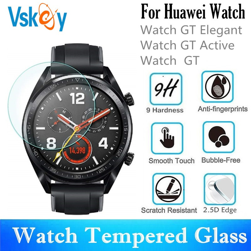 VSKEY 100PCS Tempered Glass For Huawei Watch GT Active GT Elegant Round Smart Watch Screen Protector