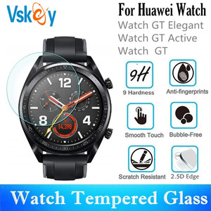 Image 1 - VSKEY 100PCS Tempered Glass For Huawei Watch GT Active GT Elegant Round Smart Watch Screen Protector Protective Film