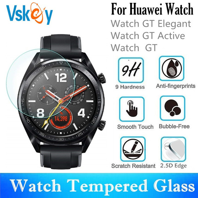 VSKEY 100PCS Tempered Glass For Huawei Watch GT Active GT Elegant Round Smart Watch Screen Protector Protective Film