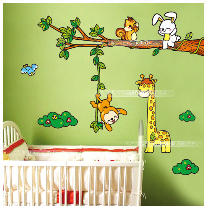 60 x 90 cm large size animals monkey tree wall sticker pvc for Home decor 90 off