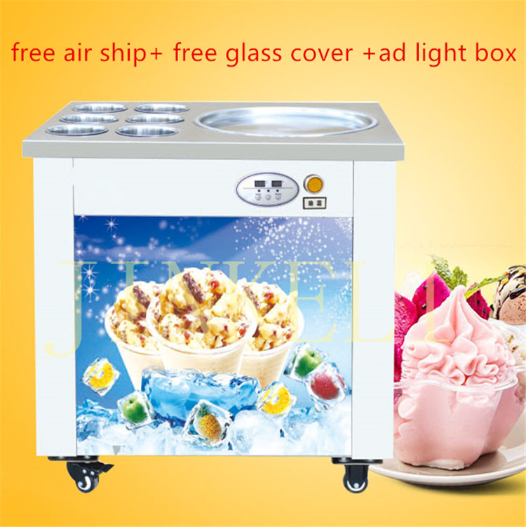 Free shipping big pan thailand ice roll machine rolled fried ice cream machine single square pan soft ice cream machine cover free shipping big pan 50cm round pan roll machine automatic fried ice cream rolling rolled machine frying soft ice cream make