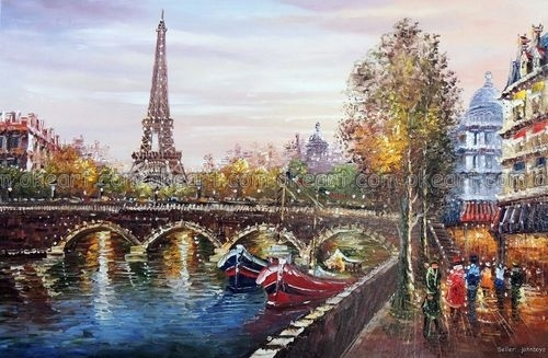 100% hand painted Eiffel Tower Paris Sunset River Seine