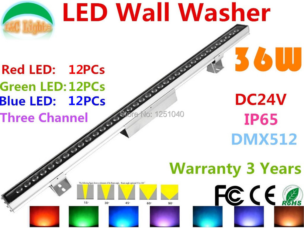 36W DMX512 RGB LED Wall Washer DC24V Outdoor Spotlights Change color LED Floodlight IP65 Waterproof Buildings Projector Light 2pcs lot 2015 newly dc24v outdoor ip65 waterproof dmx 512 led wall washer light 36w rgb landscape bar light