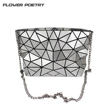 e758351bcc7e Известный для женщин цепи сумка Алмаз раза блесток голографическая сумки  через плечо Малый клатч