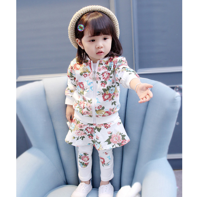 2-Piece Pretty Floral Pattern Top Jacket with Long Pants Set for Baby Girl and Toddler