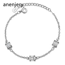 anenjery Brand Fashion 925 Sterling Silver Zircon Cylindrical Bracelet For Women Valentines Gift Wedding Jewelry pulseira S-B225(China)